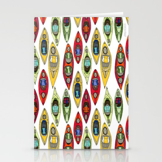 I Heart Kayaks Pattern Stationery Cards