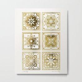 Talavera Mexican Tile – Gold Palette Metal Print