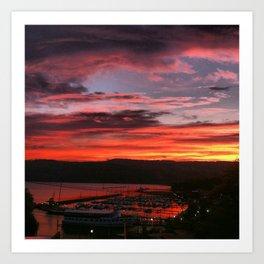 Sunrise over Seneca Harbor Art Print