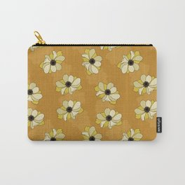 Beautiful yellow poppies on an elegant mustard yellow background Carry-All Pouch
