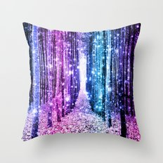 Magical Forest : Aqua Periwinkle Purple Pink Ombre Sparkle Throw Pillow