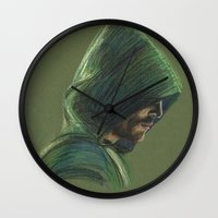 green arrow Wall Clocks featuring Green Arrow by xDontStopMeNow