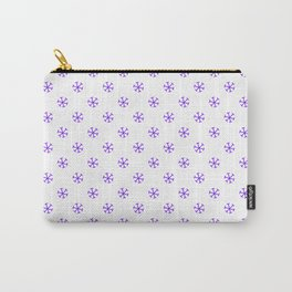 Indigo Violet on White Snowflakes Carry-All Pouch