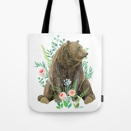 bear sitting in the forest Tote Bag