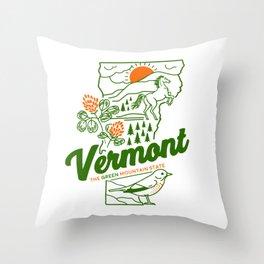 Vintage Vermont Nature Line Art Throw Pillow