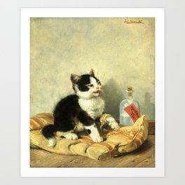 cute kitten 1- Julius Adam - the little patient -1885- pet,whikers,cat,kitty,kitten Art Print