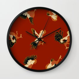 Fighting Roosters Wall Clock