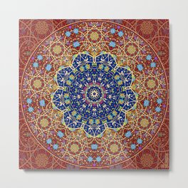 Woven Star in Blue and Red Metal Print