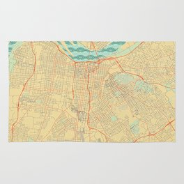 Louisville Map Retro Rug