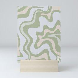 Liquid Swirl Contemporary Abstract Pattern in Light Sage Green Mini Art Print