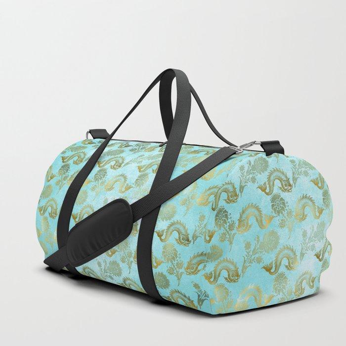 Mermaid Ocean Whale Friends - Teal And Gold Pattern Duffle Bag