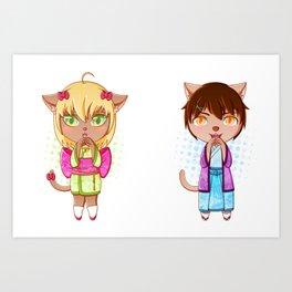 Catsumi and Catsuragi Art Print