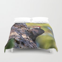 Pileated Woodpecker at Work Duvet Cover