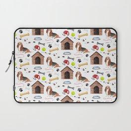 Basset Hound Dog Half Drop Repeat Pattern Laptop Sleeve