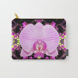 Purple Orchids Pattern Fantasy Yellow Black Art Pattern Carry-All Pouch