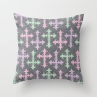 pastel goth Throw Pillows featuring Pastel Goth | Grunge Grey by Glitterati Grunge