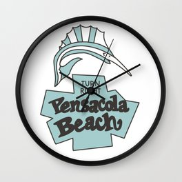 Pensacola Beach Blue  Wall Clock
