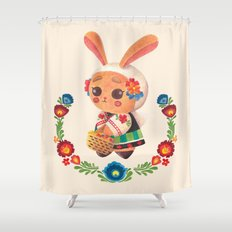 The Cute Bunny in Polish Costume Shower Curtain