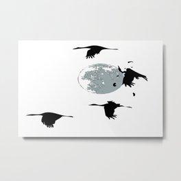 Storks and moon Metal Print