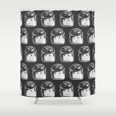 Minifigure Pattern - Dark Grey Shower Curtain