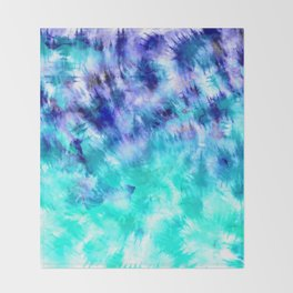 modern boho blue turquoise watercolor mermaid tie dye pattern Throw Blanket
