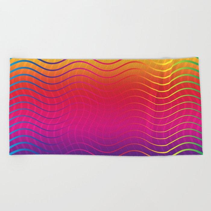 Rippled Rainbow Waves Beach Towel