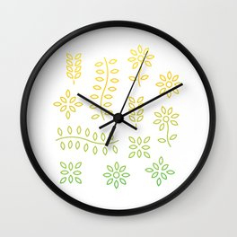 Gold Floral Lines Wall Clock