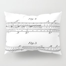 Engineering Patent - Engineers Slide Rule Art - Black And White Pillow Sham