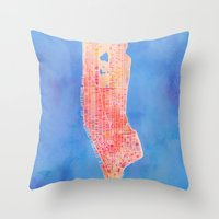 manhattan Throw Pillows featuring Manhattan  by Marta Olga Klara