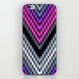 Pink Purple Gray Chevron Pixels iPhone Skin