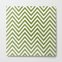 Zigzag Pattern, Chevron Pattern - White Green Metal Print