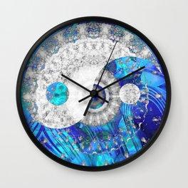 Blue And White Art - Yin And Yang Symbols - Sharon Cummings Wall Clock
