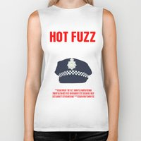 movie poster Biker Tanks featuring Hot Fuzz Movie Poster by FunnyFaceArt