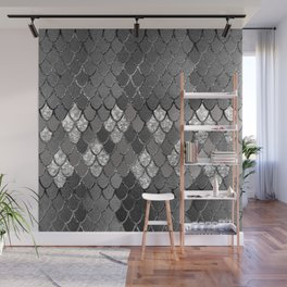 Mermaid Scales Silver Gray Glitter Glam #1 #shiny #decor #art #society6 Wall Mural