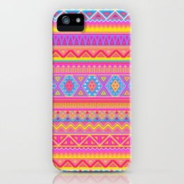 Aztec Pattern Pink and Light bLUE cOLORS iPhone Case