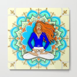 Mandala Listening to the Higher self Metal Print