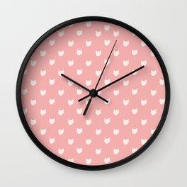 Dainty pink Cats Pattern Wall Clock