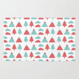 Pines, mountains & clouds Rug