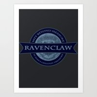 ravenclaw Art Prints featuring Ravenclaw by justgeorgia