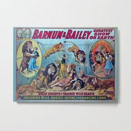 1910 Barnum & Bailey Circus Dancing Lions - M'lle Adgi's Acting Vintage Poster Metal Print