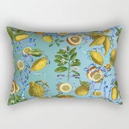 vintage lemons and oranges on ribbons of blue Rectangular Pillow