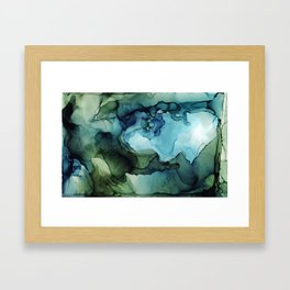Land and Water Abstract Ink Painting Blues and Greens Framed Art Print
