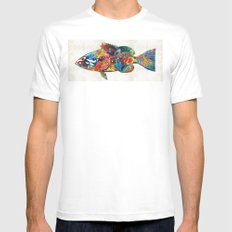 Colorful Grouper Art Fish by Sharon Cummings White MEDIUM Mens Fitted Tee