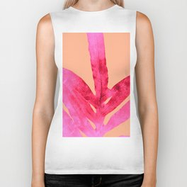 Peach Pink Ferns, Living Coral Biker Tank