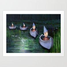 Drifting Down Stream Art Print