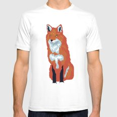 Red Fox White Mens Fitted Tee MEDIUM