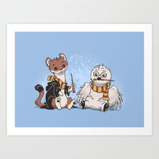 The Owl and The Weasel Art Print