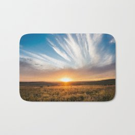 Grand Exit - Golden Sunset on the Oklahoma Prairie Bath Mat