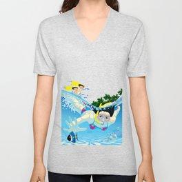 Diving girl Unisex V-Neck