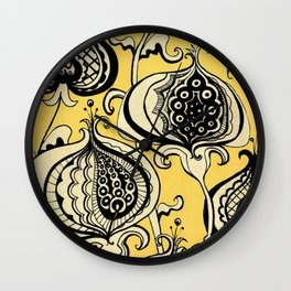 Black and Yellow Floral Wall Clock